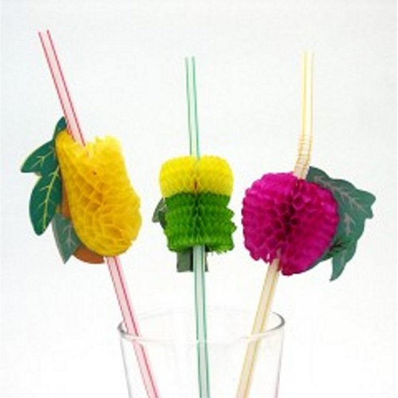 STRAWS WITH ASSORTED FRUITS 24 CM.