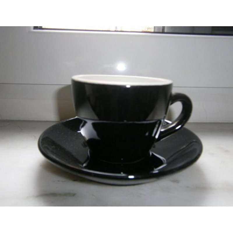 CUP AND PLATE BLACK FOR COFFEE